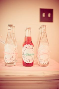 One of my favorite details from my daughter's 1st birthday # Doily Wrapped Soda Bottle