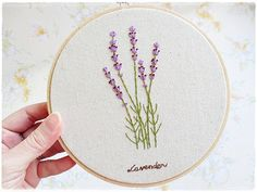 Hand embroidery in hoop Wall Art Lavender flower garden Size of hoop 16cm or 6.5 inches This beautiful lavender is hand embroidered on japanese cotton linen fabric. It is ready to hang on the wall as wall decorator or stand alone on the tables, cupboards or shelves. Tied with a hemp string. At the back of the hoop, it is nicely covered with thick japanese washi paper. This item is ready to be shipped.