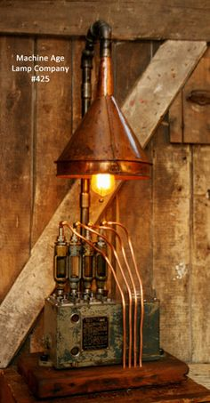 Steampunk, Industrial Lamp, Antique Hit/Miss Engine Oilier, Steam Lamp