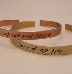 Game of Thrones Inspired - my sun and stars & moon of my life Khaleesi and Khal Drogo - We need these! Game Of Thrones 3, My Sun And Stars, Khaleesi, Daenerys Targaryen, Jewelry Accessories, Unique Jewelry, Hand Stamped, Geek Stuff, Games
