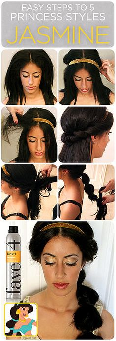 Disney Tutorials Part hair at center, tease side & front sections. Leave a 2inch section in front of headband. Twist strands back &over, tucking underneath band. Until all hair from front section is rolled around headband. Create low pony, secure with elastic.  Lift top section of ponytail and tease underneath.  If you have clip-in extensions, this is a great place to add them to your pony for added length. Continue down ponytail, creating bubble.  Pull bubbles to desired fullness