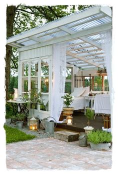Gazebo Covered Back Porch Sweet Summer Rest Area White Outside Patio Garden Whitewashed Cottage Chippy Shabby chic French country Rustic Swedish Decor Idea