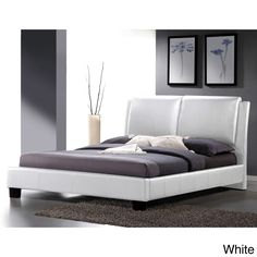 Our Sabrina bed features overstuffed polyurethane foam-padded headboard and white faux leather upholstery.  The bed frame is made with hardwood, plywood, and MDF and comes with wooden slats, which function as a box spring.