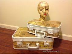 Shabby Redo For You !: Vintage suitcases decoupaged with vintage sewing patterns!