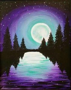 Mystic Lake, purple sky, moon and trees. Beginner painting idea.