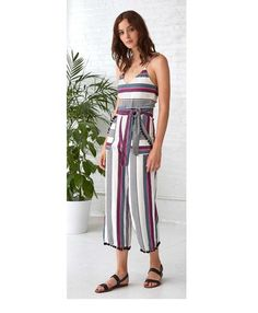 A playful, cropped length jumpsuit embellished with pom-poms and vibrant stripes. Lined. Jumpsuits, Jumper, Stripes, Collection, Dresses, Fashion, Overalls, Vestidos, Moda