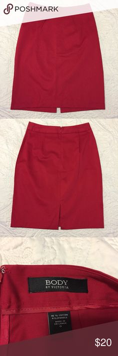 """VS ❤ Red Pencil Skirt SZ 0 Body by Victoria. Excellent like new condition! Size 0. Waist measures 13"""" and the length from top to bottom is 20.5"""". Victoria's Secret Skirts Pencil"""