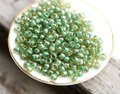 Material: Toho seed beads (Japan)  Color name: Inside color Topaz - Mint Julep Lined  Color number: 11-380  Size: 11/0 (approx. bead size - 2,2mm)