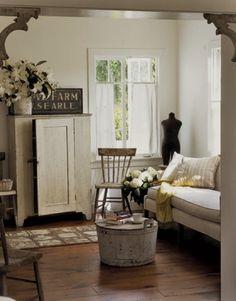 Simple white farmhouse living room Living Room Decoration Ideas