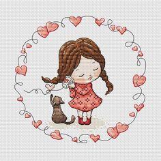 Cute little girl with cat cross stitch pattern girl in red dress cross stitch kitten cross stitch gift for baby girl red heart cross stitch Cross Stitch Designs, Cross Stitch Patterns, Unicorn Cross Stitch Pattern, Everything Cross Stitch, Cross Stitch Tutorial, Cross Stitch Heart, Back Stitch, Cute Little Girls, Baby Girl Gifts