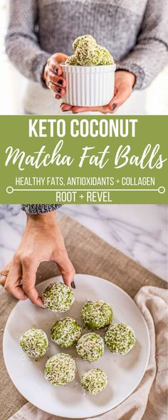 Chockfull of healthy fats, antioxidants, and collagen protein, these Matcha Coconut Fat Balls are Ketogenic dairy-free, gluten-free and Paleo, making them the perfect energy-giving snack, breakfast, and even dessert!
