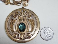 Antique Victorian HUGE Gold Filled Jeweled LOCKET Pendant Watch Chain  Necklace
