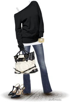 Love the entire look except the shoes (need lace up boots due to car accident).  Love the of shoulder,  comfy jeans looks,  layers for comfort , up styled by the shoes and purse