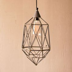 Live Wire Pendant - If you like light to hit you at all kinds of angles, this small wire pendant will do just that. With an open, geometric shape, it lets the Edison bulb play center stage. Wire Pendant, Pendant Lamp, Live Wire, Modern Industrial, Industrial Design, Dot And Bo, Dream Decor, Home Lighting, Wedding Lighting