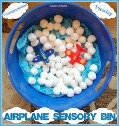 Transportation Tuesday - Airplane Week - Airplane Sensory Bin! - House of Burke. Fun fine motor and sensory bin a it itty for #preschool and #kindergarten while older siblings #homeschool