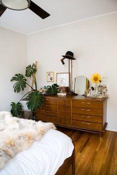 Vintage vanity with plants