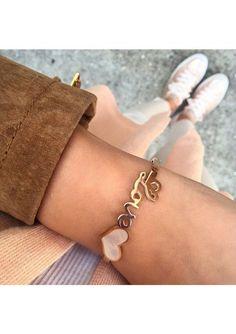 Love Heart Charm Bracelet In Rose Gold