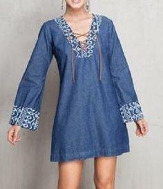 How To Wear Denim Dresses Ideas 59 - Kleidung Cute Dresses, Casual Dresses, Short Dresses, Casual Outfits, Summer Dresses, Denim Dresses, Denim Fashion, Boho Fashion, Fashion Dresses