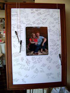 Signature Picture Frame - My Tucson Wedding Wedding Picture Frames, Wedding Frames, Wedding Book, Wedding Pictures, Wedding Cards, Wedding Ideas, Photo Signature, Wedding Guest Looks, Guest Book Sign