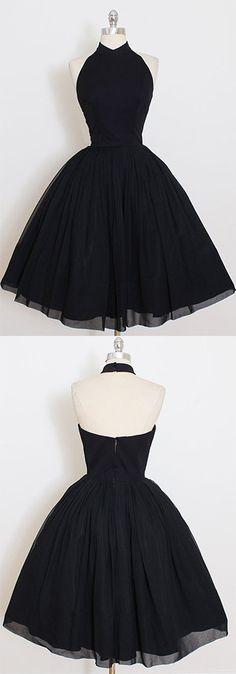 2017 Custom Made Black Chiffon Prom Dress,Halter Homecoming Dress,Short /Mini Party Dress,High Quality Prom Dress,Sweet 16 Cocktail Dress,Homecoming Dress