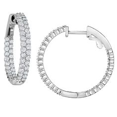 Round Brilliant 1.80 ctw VS2 Clarity, I Color Diamond 14kt White Gold Inside Outside 1 Inch Hoop Earrings