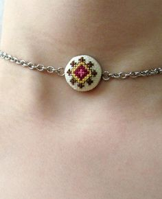 Items similar to Boho dainty chain choker necklace, Hypoallergenic Minimalist jewelry, Stainless steel choker, party gift for her on Etsy Bold Jewelry, Simple Jewelry, Pendant Jewelry, Jewellery, Tiny Cross Stitch, Cross Stitch Alphabet, Cross Stitch Designs, Brazilian Embroidery, Bracelet Crafts