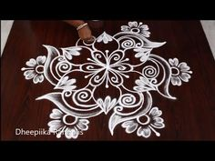 Beautifull flower Rangoli Design with Dots Easy Rangoli Designs Videos, Indian Rangoli Designs, Simple Rangoli Designs Images, Rangoli Designs Latest, Rangoli Designs Flower, Rangoli Border Designs, Rangoli Patterns, Rangoli Designs With Dots, Flower Rangoli