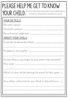 Free get to know you for parents to fill out about their child.