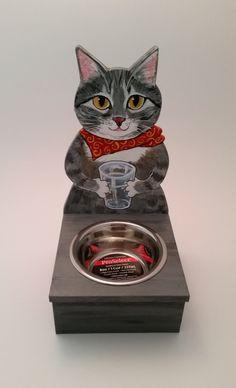 Gray Tabby Cat Water Bowl Holder ~Handmade Painted Wood Art ~Pet Feeder ~Cat 7d8274fe935c