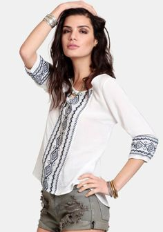 White Sands Embroidered Top