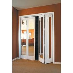 Mir Mel Mirror Solid Core Primed MDF Interior Closet Bi Fold Door With  White Trim