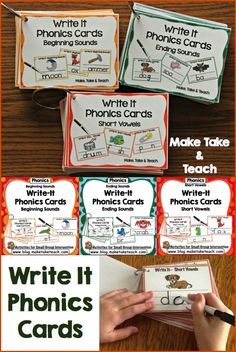 Write It Phonics Cards for early literacy. Great for centers!