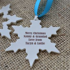 personalised christmas snowflake decoration by carys boyle ceramics   notonthehighstreet.com