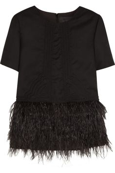 J.Crew|Collection feather-embellished wool-flannel top|NET-A-PORTER.COM