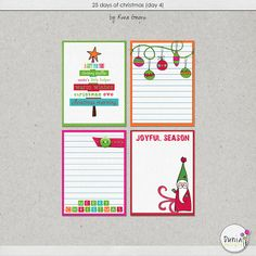 FREE 25 days of freebies - Day 4 Journaling Cards made by Rona!!!  freebie will be available for 24 hours only
