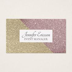 Gold bronze glitter pattern business card - glitter glamour brilliance sparkle design idea diy elegant