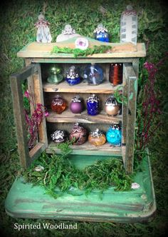 Enchanted Potions Cabinet Miniature   One of a by SpiritedWoodland, $23.95