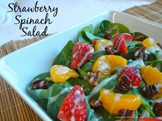 This simple strawberry spinach salad is the perfect light and tasty salad.  Use it as a nice side dish or add chicken to make it a meal!