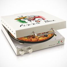 A pizza oven designed to look like a pizza box. This compact, square oven cooks fresh pizza, frozen pizza, and can reheat cold pizza. For a person or family that eats a lot of pizza, this little device makes the cooking process easy and quick. Cool Kitchen Gadgets, Kitchen Tools, Cool Kitchens, Kitchen Appliances, Kitchen Dining, Kitchen Products, Kitchen Utensils, Kitchen Sink, Pizza Box Oven