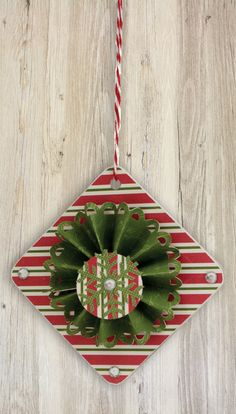 Patterned paper + Glue Dots #adhesive + chipboard + embellishments = #DIY #Ornaments!