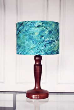 Lamp shades blue marbled lampshade blue home by ShadowbrightLamps