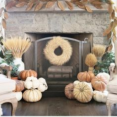 We have a big ol' TV above our family room fireplace, but that doesn't keep me from decorating the hearth and mantel. Winter Centerpieces, Fall Mantel Decorations, Table Garland, Family Room Fireplace, Fall Table Settings, Faux Flowers, Autumn Home, Fall Halloween, Decor Ideas