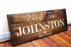 Personalized Family Name Sign Wedding Gift Custom Carved Wooden Signs Last Name Décor Established Wood Plaque Engraved