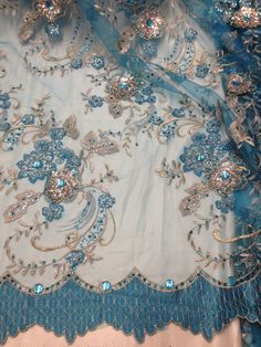 """TURQUOISE MESH W/GOLD SILVER EMBROIDERY SEQUIN RHINESTONE LACE FABRIC 50"""" 1 YD #laceembroiderymesh"""