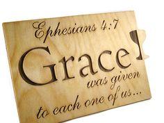 Ephesians 5:7 Grace Bible Passage Wall Hanging Plaque Handmade @kevskrafts
