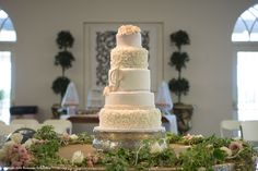 Peters/Sroda Wedding - Remnant Fellowship Weddings  Wedding cake, white and blush, flowers, monogram