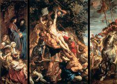 The Raising of the Cross - Tryptich Artist Peter Paul Rubens.  Church of Saint Walpurga, Antwerp, Belgium.  Baroque.