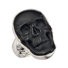 Charles Albert Obsidian Small Skull Adjustable Ring ($150) ❤ liked on Polyvore featuring jewelry, rings, accessories, black, gothic pendants, gothic rings, adjustable rings, skull jewelry and band jewelry