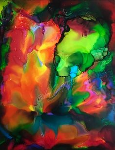An original 11 x 14 Alcohol Ink Painting done on Yupo Paper.  Pure neon electricity and full on energy radiates from this painting.  With bright hues of fluorescent oranges and pinks bouncing off intense lime and emerald green, this piece is all about fantasy and the abstract.  Electrifying  and Fu