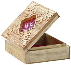 """Wood Jewelry Box Pink Floral Carving - 6"""" Large Decorative Box / Jewelry Trinket Keepsake Boxes from SouvNear Available at joyfulcrown.com"""
